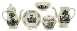 Five Pieces Tea Party Decorated Creamware