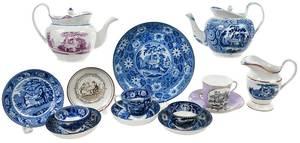 14 Pieces Tea Party Transfer Decorated Ceramics