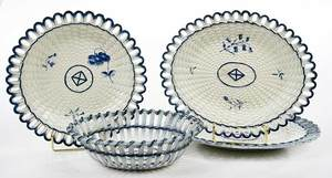 Four Blue and White Basketweave Creamware Pieces