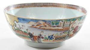 Famille Rose Chinese Export Punch Bowl