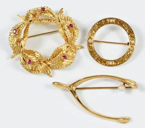 Three Vintage Gold Brooches