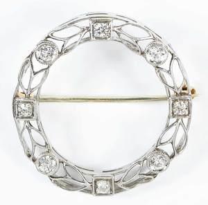 Platinum, Gold and Diamond Circle Brooch