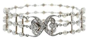 Antique Platinum, 14kt. Diamond & Pearl Bracelet