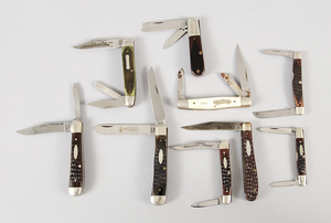Eight Vintage Folding Schrade, Case Knives