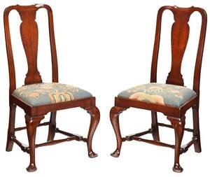 Pair Boston Queen Anne Style Side Chairs