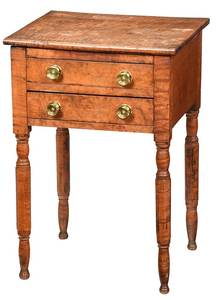 American Federal Tiger Maple Two Drawer Stand
