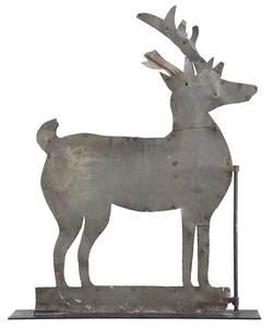A Folk Art Sheet Metal Standing Stag Weathervane