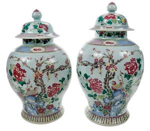 Near Pair of Fine Famille Rose Lidded Jars