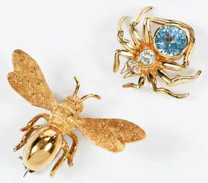 Two Gold Bug Brooches