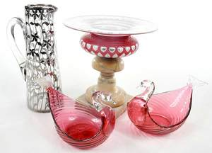 Four Glass Table Objects, Including Steuben