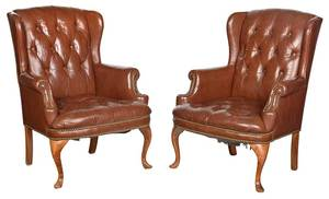 Pair Leather Tufted Upholstered Wing Chairs
