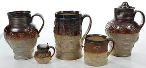 Five Stoneware Vessels, English Silver Mounts