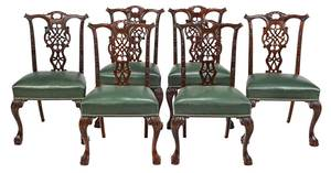 Set of Six Irish Chippendale Style Dining Chairs