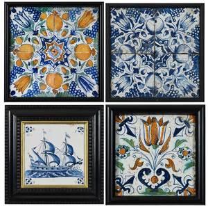 Four 17th Century Framed Panels of Delft Tiles