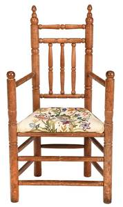 Brewster Style Arm Chair with Crewel Work Seat