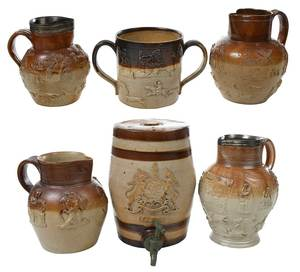 Six Sprig Decorated Saltglazed Stoneware Vessels