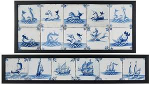 16 Framed Sea Creature and Ship Delft Tiles