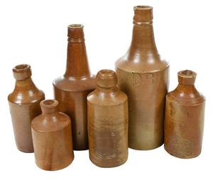 Six 19th Century Brown Stoneware Bottles