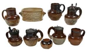 Nine Small Stoneware Condiment Containers