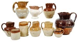 Ten Pieces Brown Glazed Stoneware