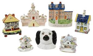 Seven Staffordshire Ceramic Banks and Miniatures