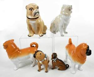 Six Porcelain Pug Figures