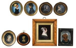 Group of Eight Framed Miniature Wax Portraits