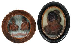 Two Framed Carved Relief Portraits