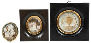 Three Framed Memento Mori Miniatures