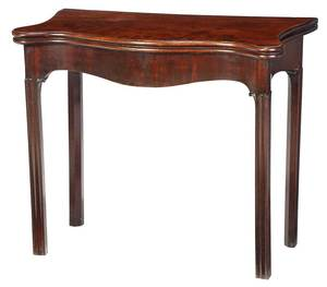 Chippendale Figured Mahogany Card Table