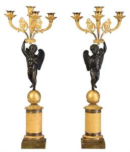 Pair Chibout French Empire Four Arm Candelabras