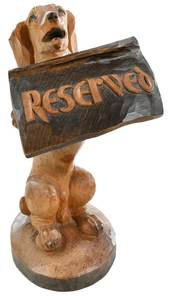 Black Forest Style Carved Dog with Sign