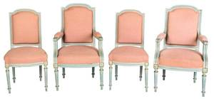 Set of Four Louis XVI Style Blue Painted Chairs