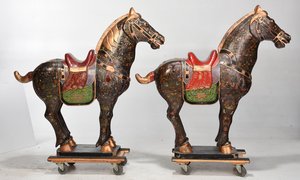 Large Pair Asian Carved Wood Horse Figures