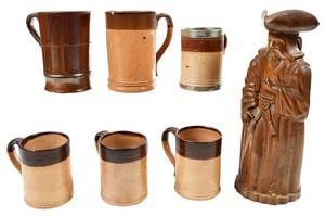 Figural Stoneware Ewer with Six Tavern Mugs