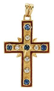 14kt. Diamond and Sapphire Cross Pendant