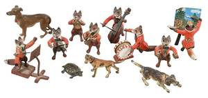 12 Cold Painted Miniature Bronze Animal Figures
