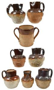 Eight Sprig Decorated Stoneware Tavern Vessels