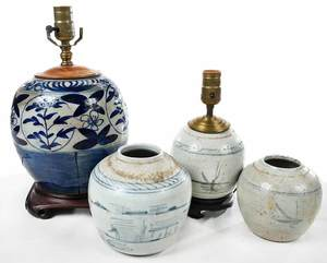 Four Blue and White Jars, Two Fitted As Lamps