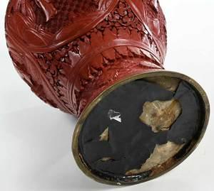 Chinese Cinnabar Red Vase