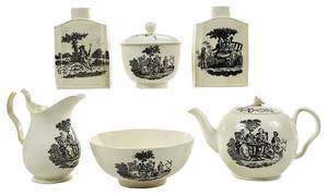 Six Tea Party Transfer Decorated Creamware Items