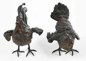 Two Austrian Cold Painted Bronze Chickens