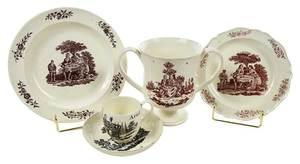 Five Pieces Decorated Tea Party Creamware