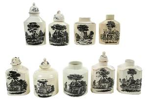 Nine Tea Party Creamware Tea Caddies