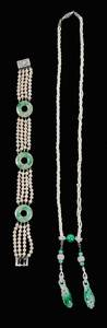 14kt., Jade and Pearl Necklace and Bracelet