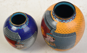 Two Large Japanese Cloissone Vases with Children