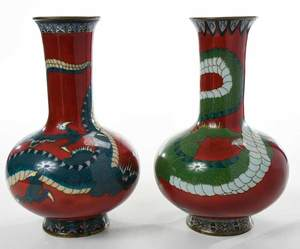 Near Pair of Red Cloisonne Figural Dragon Vases