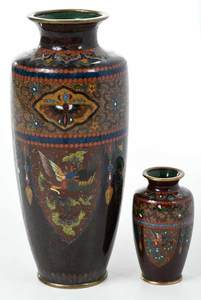 Two Japanese Cloisonne Vases with Gold Stone