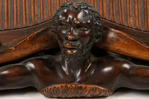 Fine Figural Carved Folk Art Pipe Rack