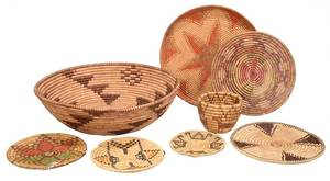 Eight Hopi Coiled Baskets